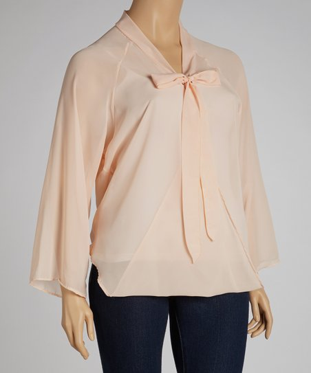 Peach Tie-Neck Chiffon Top - Plus