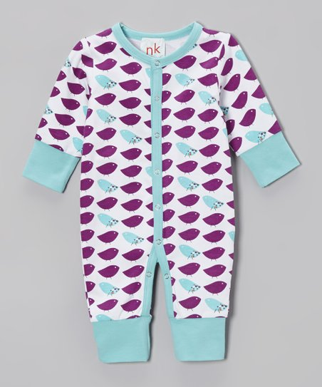 Purple & White Bird Playsuit - Infant