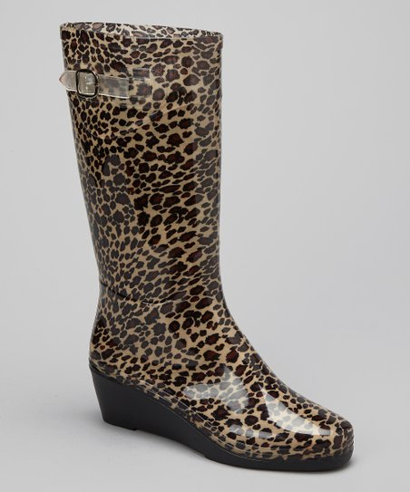 Tan & Brown Leopard Wedge Rain Boot