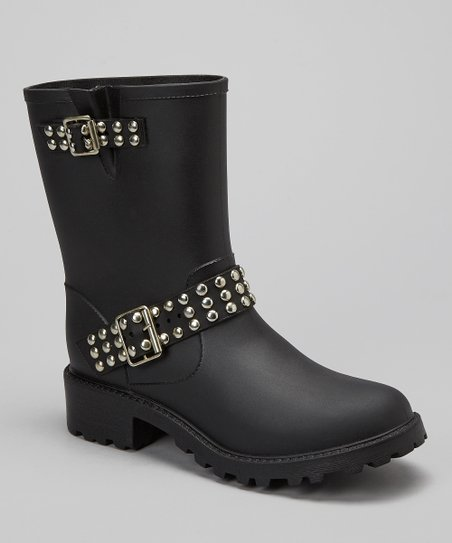 Black Studded Rain Boot