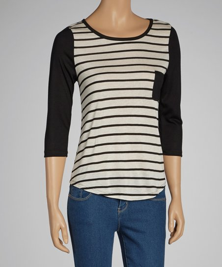 Black & Oatmeal Stripe Scoop Neck Top