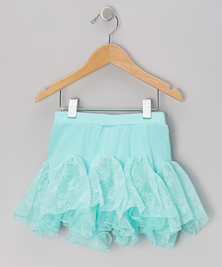 Turquoise Floral Lace Kick Pleat Skirt - Infant & Toddler