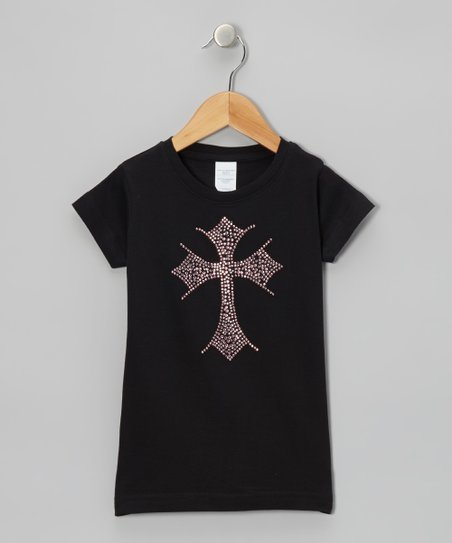 Black & Pink Cross Rhinestone Tee - Toddler & Girls