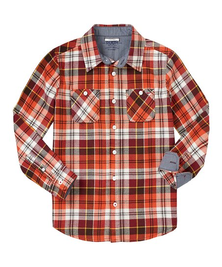 Burnt Orange Autumn Plaid Button-Up - Infant, Toddler & Boys