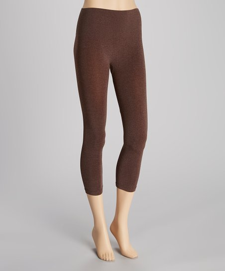 Heather Brown Seamless Shaper High-Waist Capri Leggings