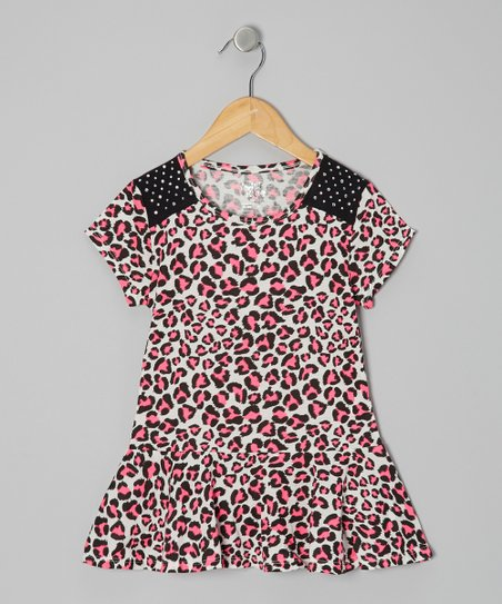 Pink Leopard Peplum Top - Girls