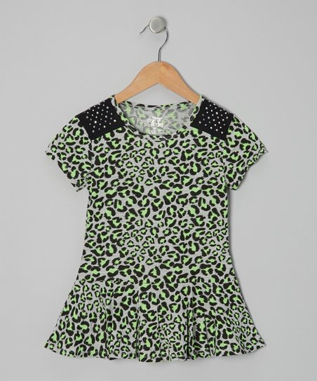 Green Leopard Peplum Top - Girls