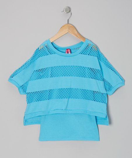 Blue Stripe Mesh Layered Top - Girls
