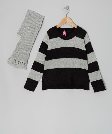 Black Stripe Sweater & Scarf - Girls