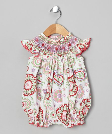 Pink Paisley Smocked Bubble Bodysuit - Infant & Toddler