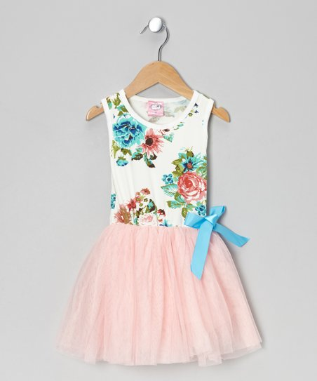 Pink Floral Tulle Dress - Toddler & Girls