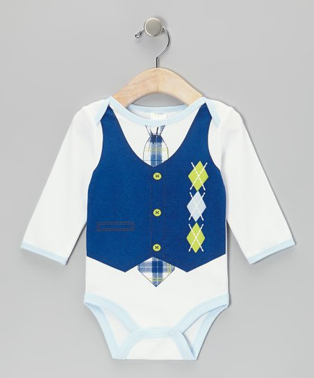 Navy Argyle Bodysuit