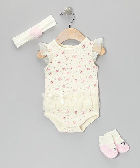 Cream Floral Tutu Bodysuit Set