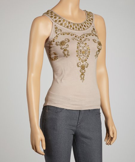 Tan Bollywood Yoke Top