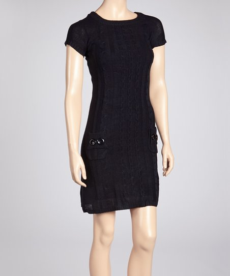 Black Cable-Knit Sweater Dress