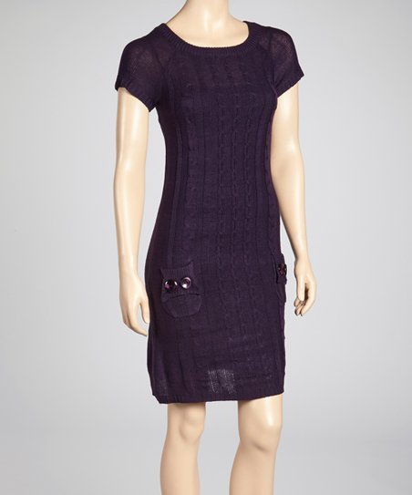 Purple Cable-Knit Sweater Dress
