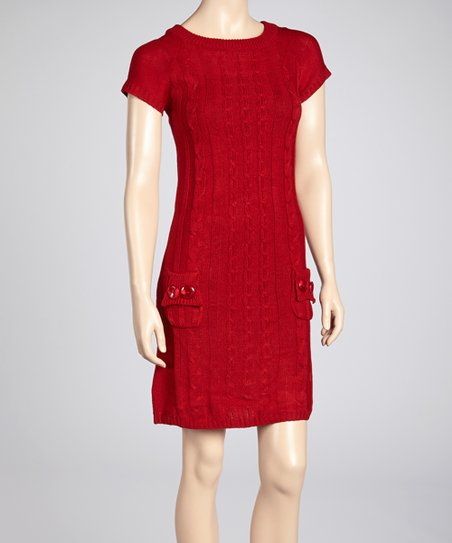 Red Cable-Knit Sweater Dress
