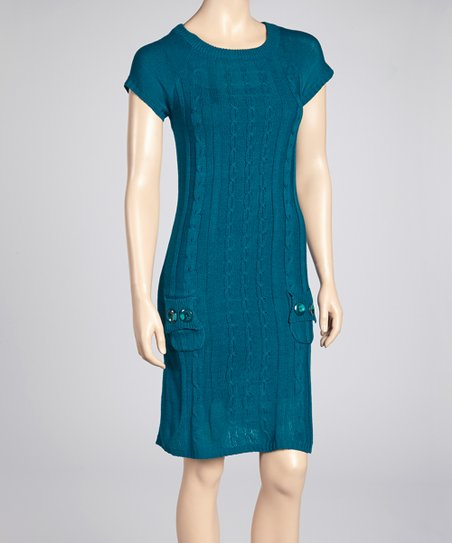 Teal Cable-Knit Sweater Dress