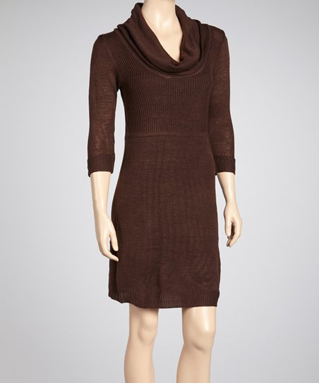 Brown Cowl Neck Sweater Dress