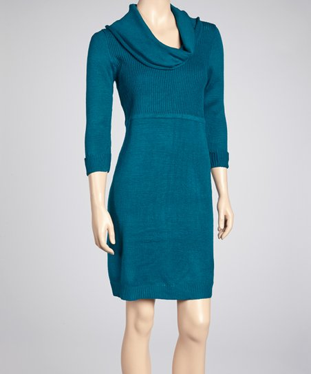 Teal Cowl Neck Sweater Dress