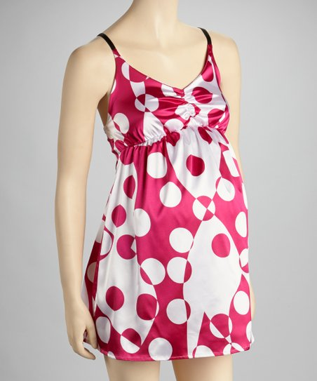 Pink Dot Silk Maternity Chemise - Women