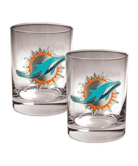 Miami Dolphins Rocks Glass - Set of Two