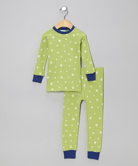 Lime & Blue Stars Pajama Set - Infant