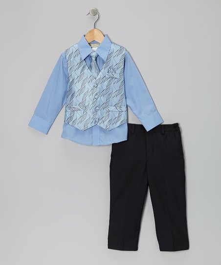 Light Blue Spindle Vest Set - Infant & Boys