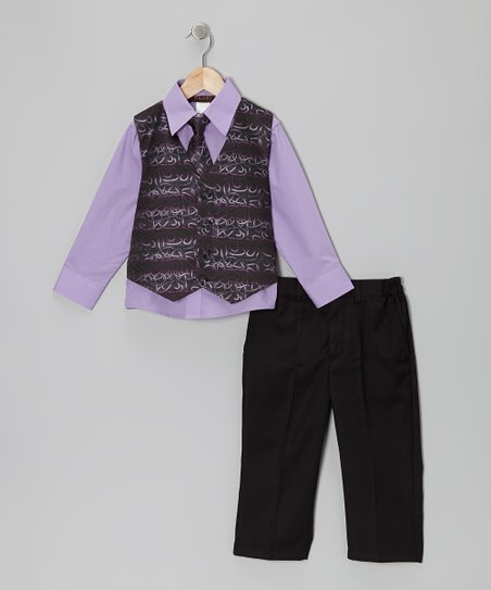 Purple Cursive Vest Set - Boys