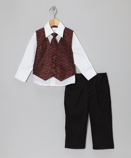 Red & White Vest Set - Boys