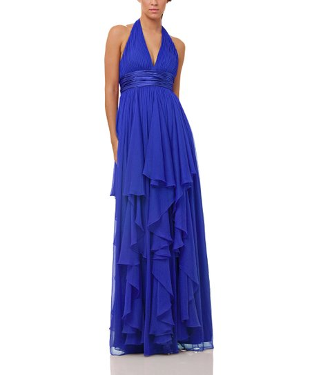 Royal Blue Crinkle Chiffon Halter Dress