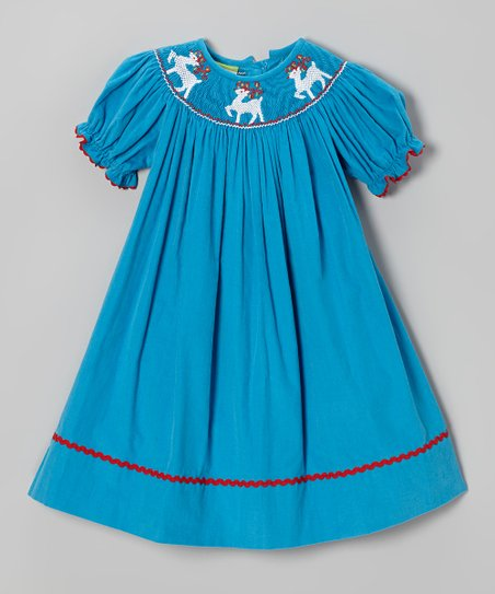 Turquoise Vintage Reindeer Bishop Dress - Infant, Toddler & Girls
