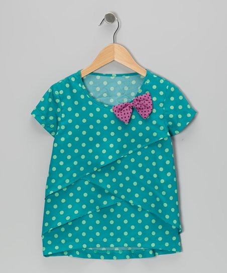 Lake Blue Polka Dot Tiered Top - Girls