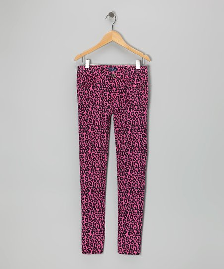 Rose Leopard Skinny Pants - Toddler