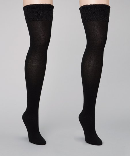 Black Fuzzy Over-the-Knee Socks Set