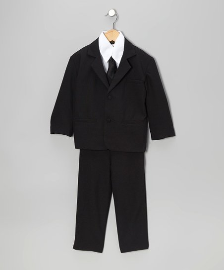 Black Five-Piece Suit Set - Infant, Toddler & Boys