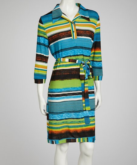 Blue & Green Stripe Shirt Dress