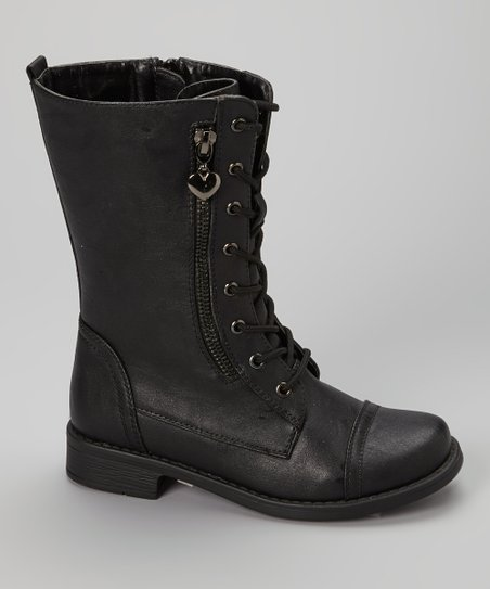 Black Zip Moto Boot