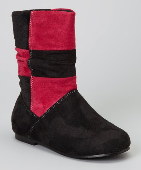 Black & Fuchsia Color Block Yster Boot
