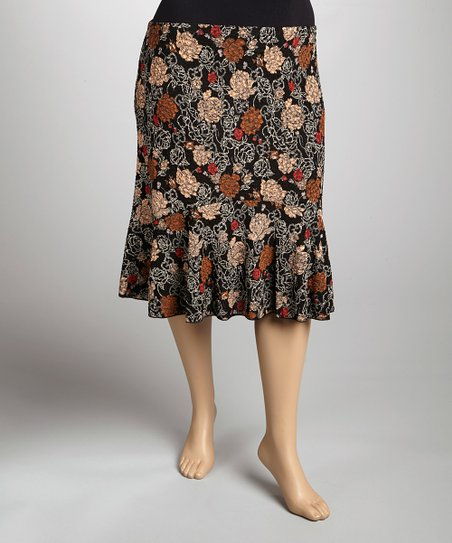 Brown & Black Floral Skirt - Plus