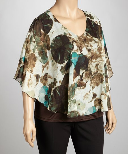 Mint & Taupe V-Neck Top - Plus