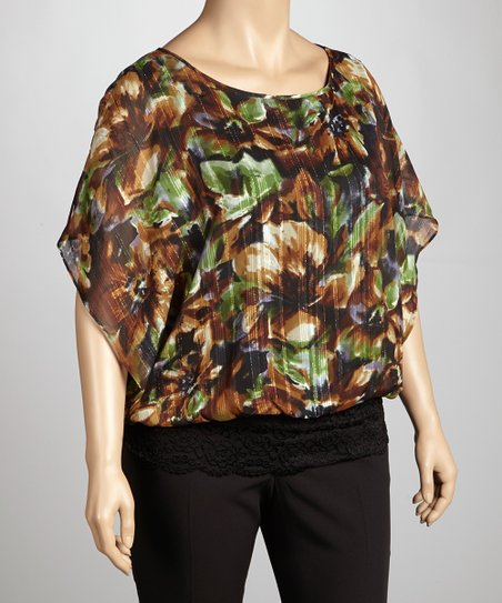 Brown & Olive Floral Cape-Sleeve Top - Plus