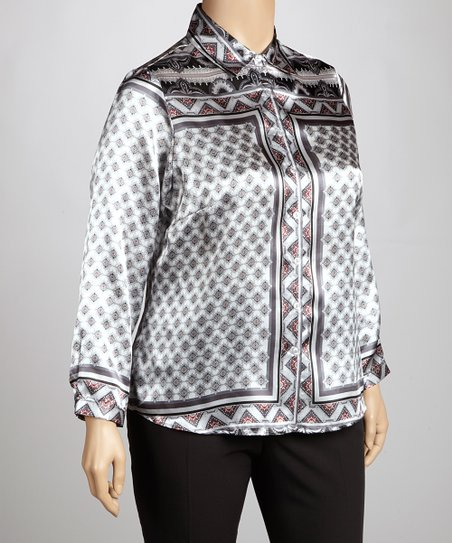Gray & Red Arabesque Long-Sleeve Top - Plus