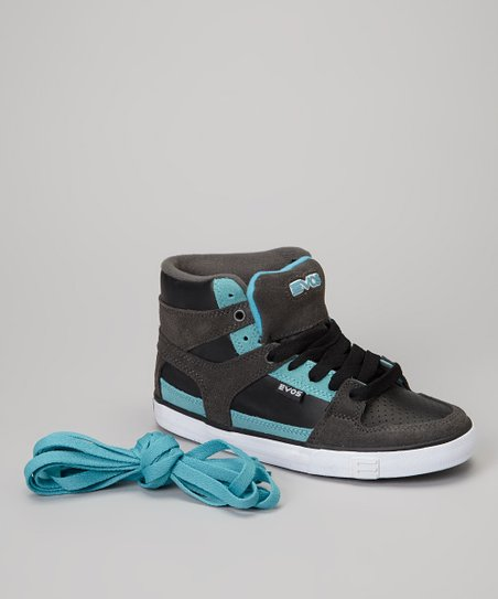 Gray & Blue Suede Hi-Top Sneaker