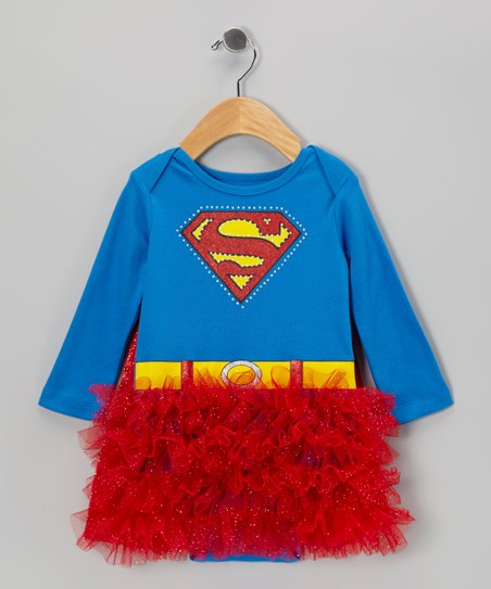 Red & Blue Superman Caped Skirted Bodysuit - Infant