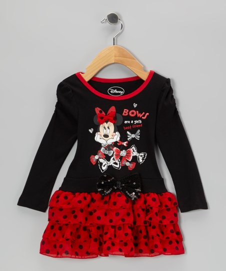 Black & Red Polka Dot Minnie Tier Dress - Infant & Toddler
