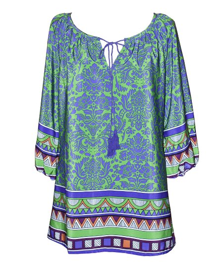 Teal & Purple Damask Jill Top