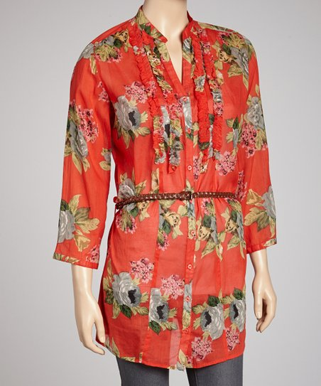 Red Floral Belted Button-Up Tunic