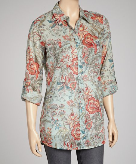 Light Blue Floral Button-Up Tunic