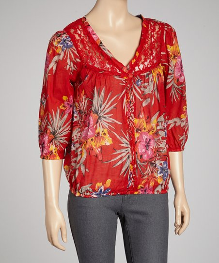 Red Plumeria Three-Quarter Sleeve Top